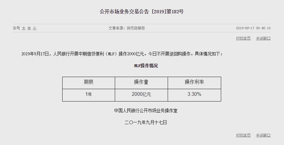 央行今日开展1年期MLF操作2000亿元  利率维持在3.3%-中国网地产