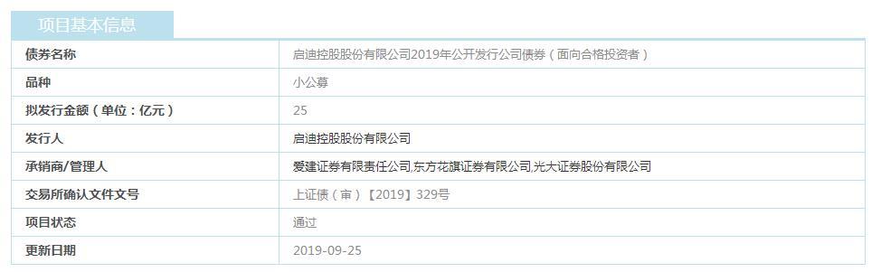启迪控股:25亿元小公募公司债券已获上交所通过-中国网地产