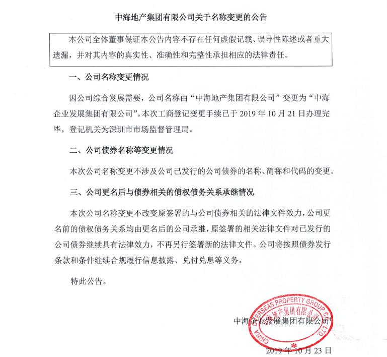 """中海地产:变更境内发债公司名称为""""中海企业发展集团""""-中国网地产"""