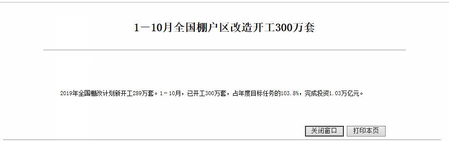 住建部:1-10月全国棚户区改造完成投资1.03万亿元-中国网地产