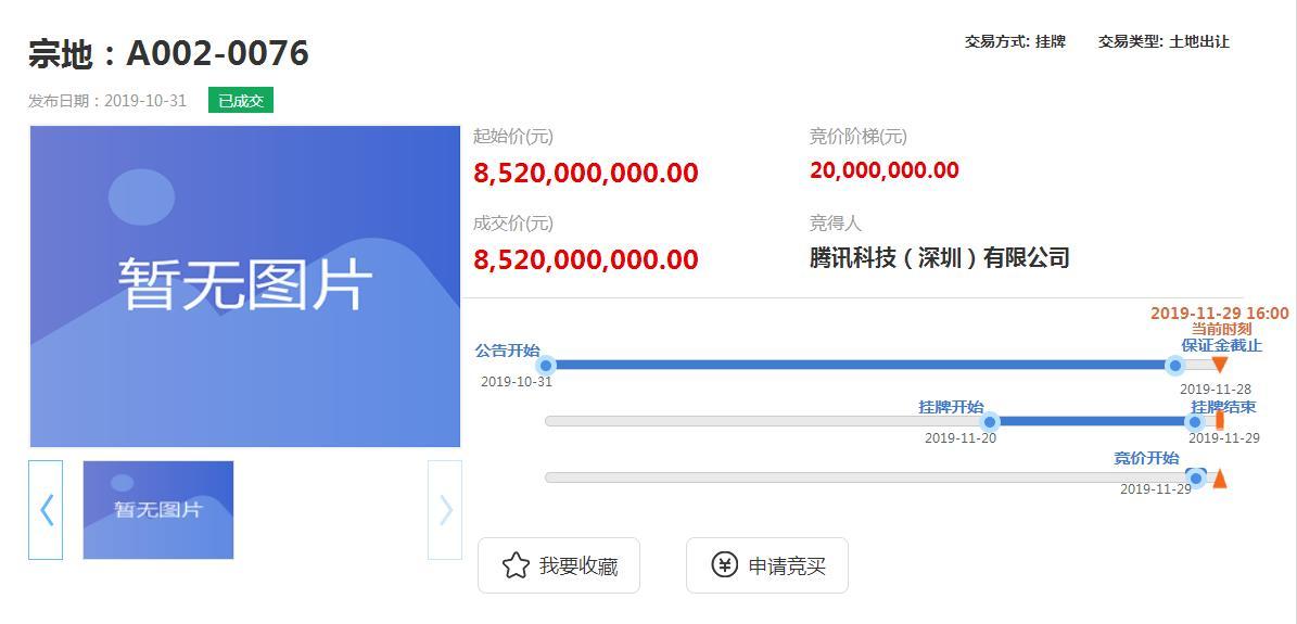 腾讯85.2亿元竞得深圳1宗互联网产业用地-中国网地产