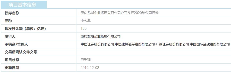 龙湖企业:180亿元小公募公司债券获上交所受理-中国网地产
