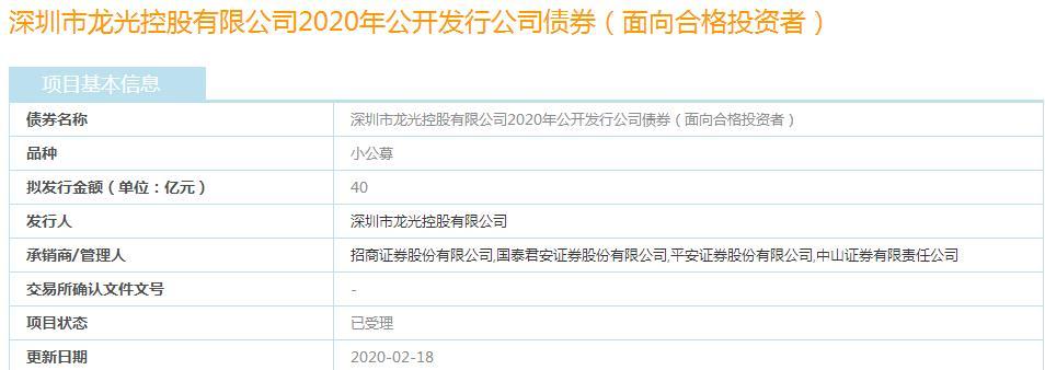 龙光控股40亿元小公募债券获上交所受理-中国网地产