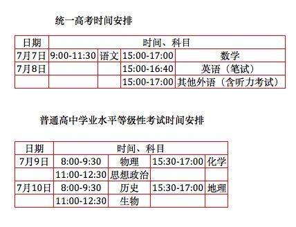 北京高考7月7日至10日