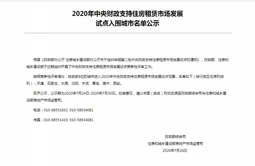 八城入围中央财政支持住房租赁市场发展试点名单-中国网地产