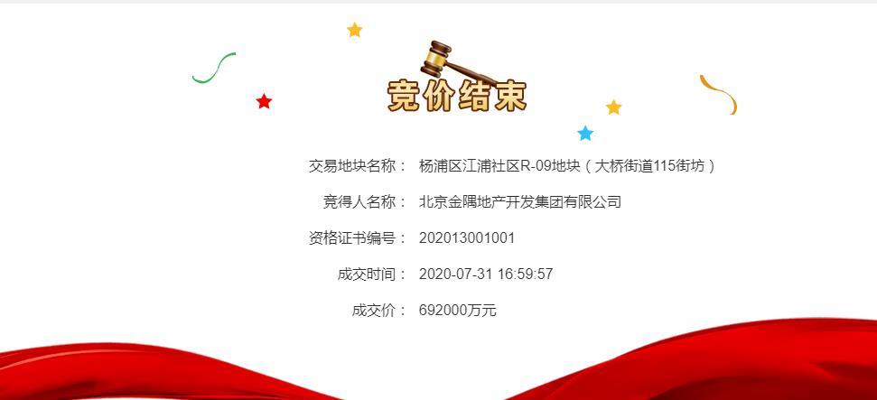 金隅69.2亿元竞得上海杨浦区1宗住宅用地 溢价率38.32%-中国网地产