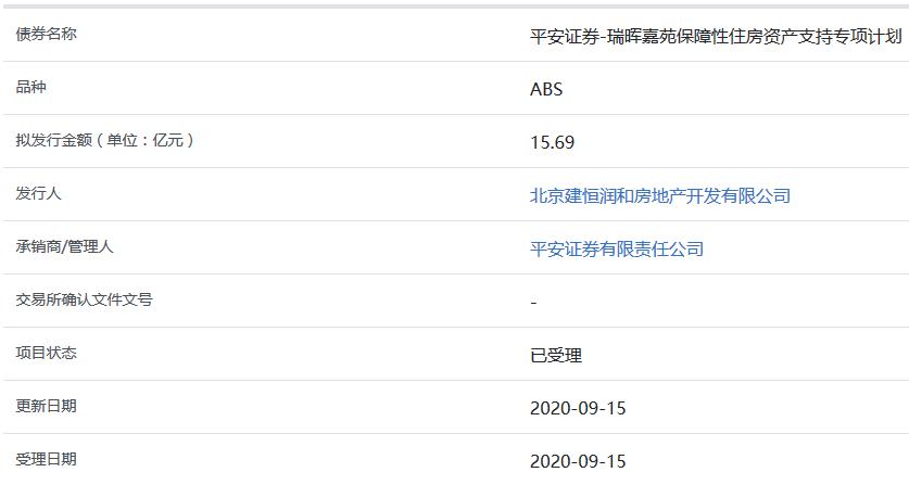 瑞晖嘉苑15.69亿元保障性住房ABS获上交所受理-中国网地产