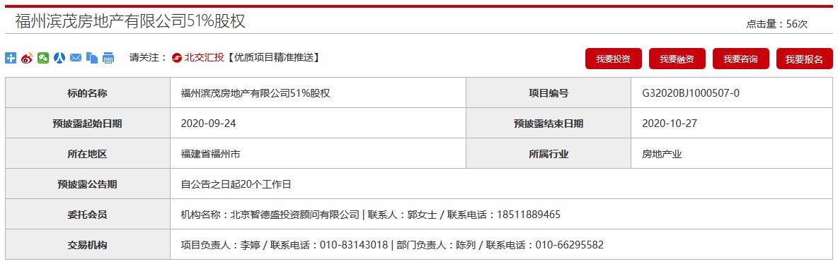 中国金茂拟转让福州滨茂房地产51%股权