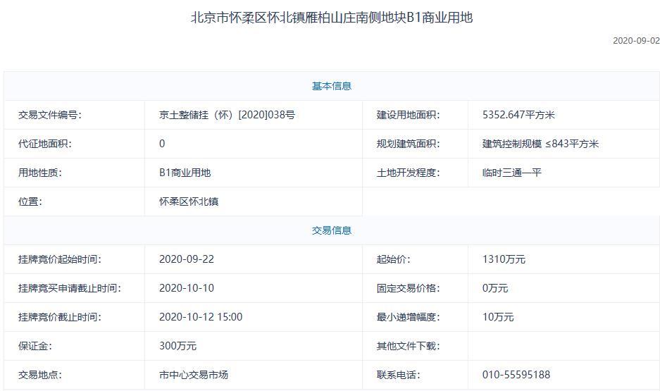 北京怀柔3.08亿元出让2宗地块-中国网地产