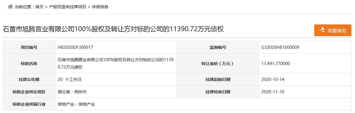 石首生态文化拟1.15亿元转让旭腾置业100%股权及1.14亿元债权-中国网地产