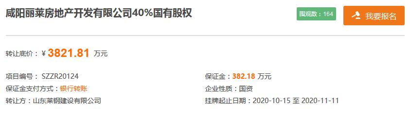 山东莱钢建设拟3821.81万元转让咸阳丽莱房地产40%股权-中国网地产