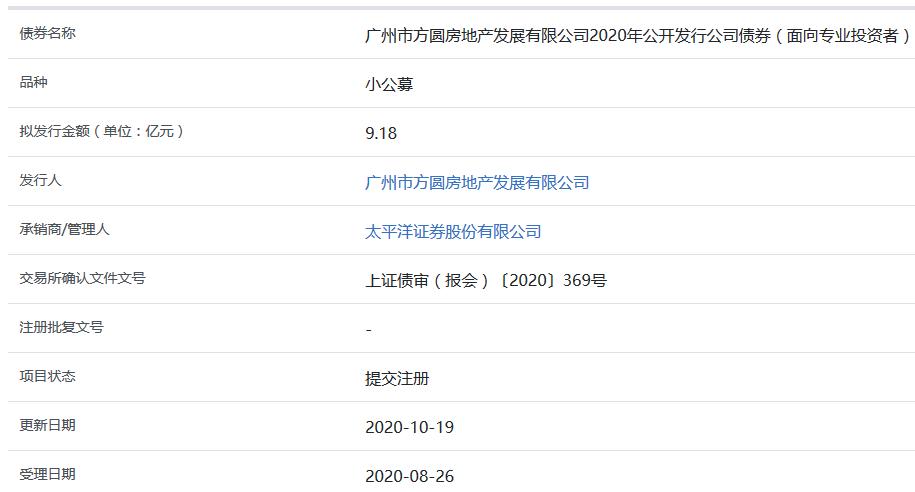 方圆地产9.18亿元小公募公司债券在上交所提交注册-中国网地产