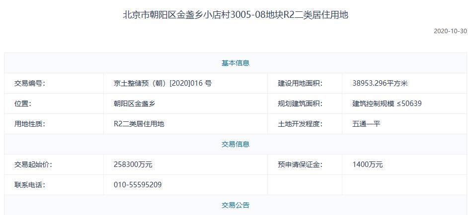北京朝阳区金盏25.83亿元挂牌1宗预申请地块 此前曾暂停出让-中国网地产