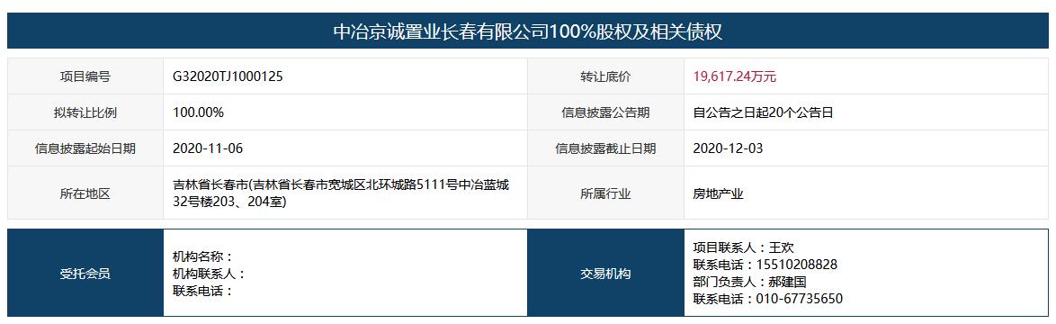 中國中冶擬1.96億元轉讓中冶京誠置業長春公司100%股權-中國網地産