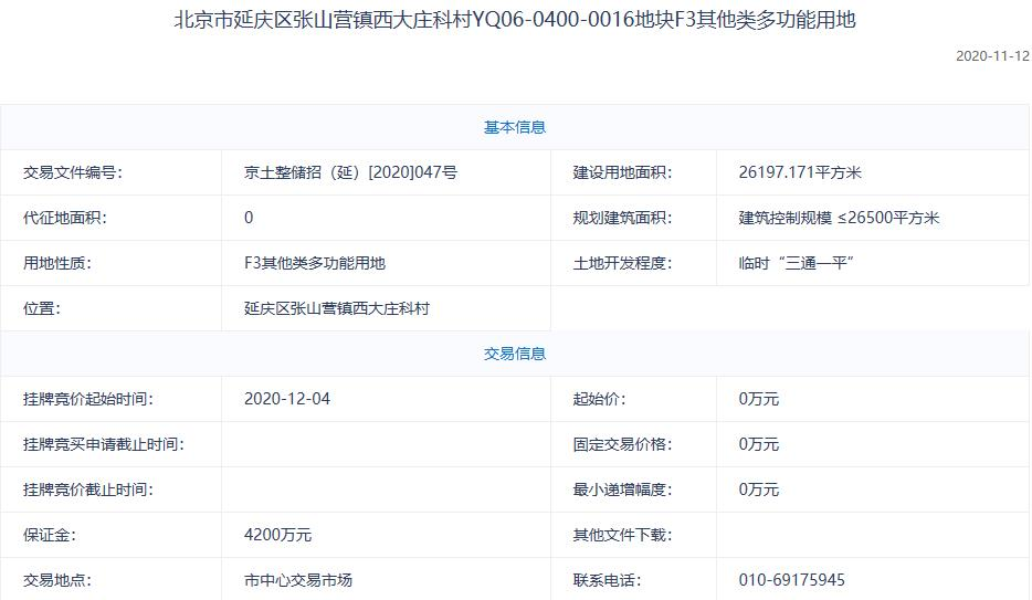 北京6.08亿元挂牌2宗多功能地块 -中国网地产