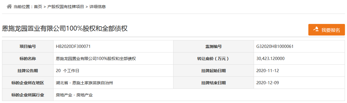 恩施龙凤投资拟3.04亿元转让恩施龙园置业100%股权和2.4亿元债权-中国网地产
