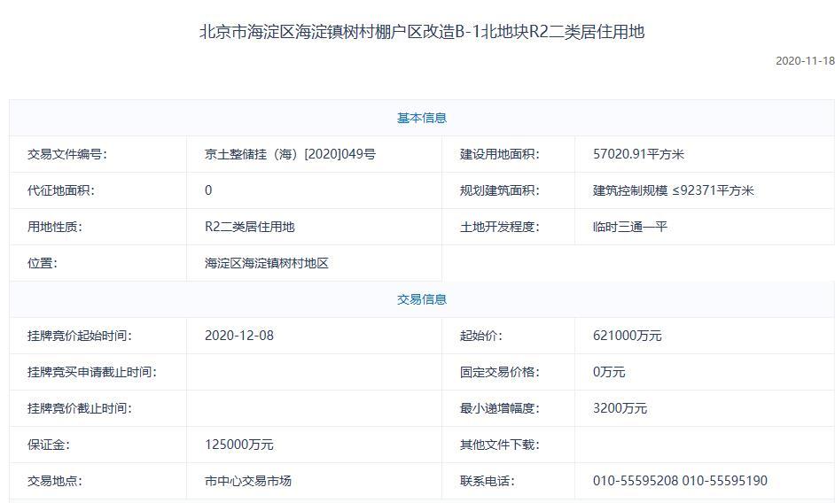 北京海淀118亿元挂牌2宗不限价地块 起始楼面价超6.7万/平-中国网地产