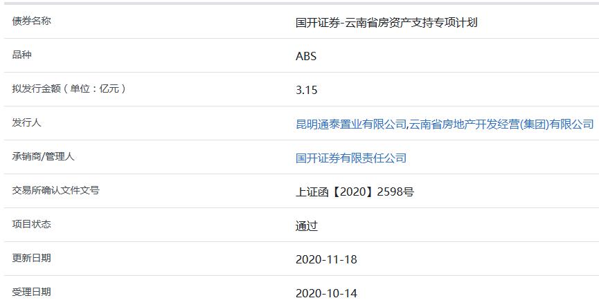 云南省房3.15亿元ABS获上交所通过-中国网地产