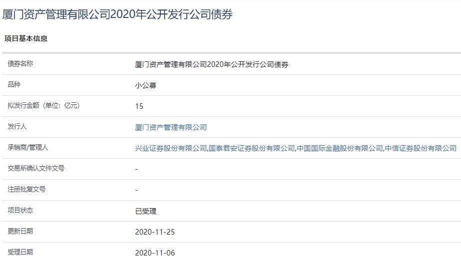 厦门资产管理15亿元公司债券已获上交所受理-中国网地产
