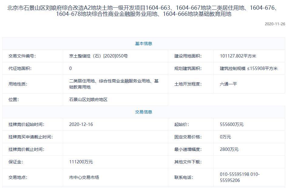 北京石景山55.56億元掛牌1宗不限價地塊-中國網地産