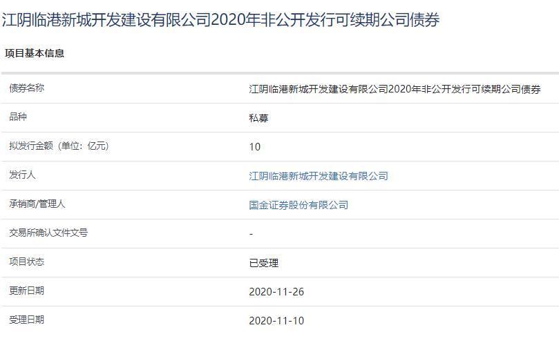 江阴临港新城10亿元可续期公司债券已获上交所受理-中国网地产