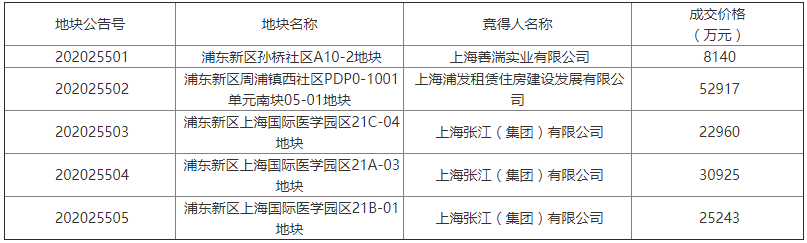 上海市14.02亿元出让5宗租赁住房用地 张江集团7.9亿元摘得3宗-中国网地产
