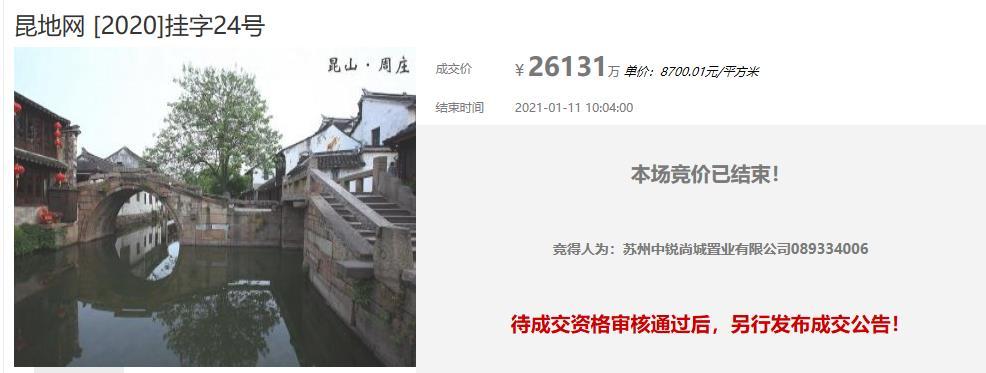 中锐2.61亿元竞得苏州昆山1宗住宅用地-中国网地产