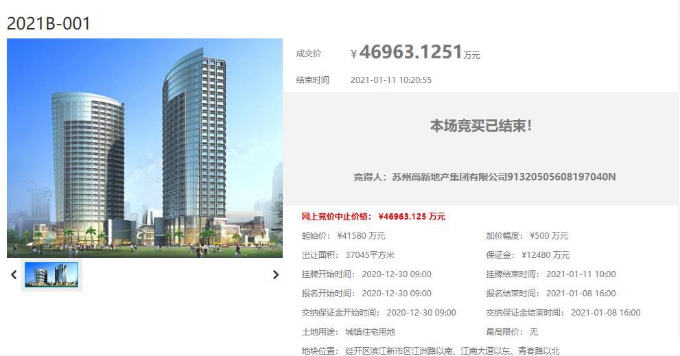 苏高新4.69亿元竞得苏州常熟1宗住宅用地 溢价率12.95%-中国网地产