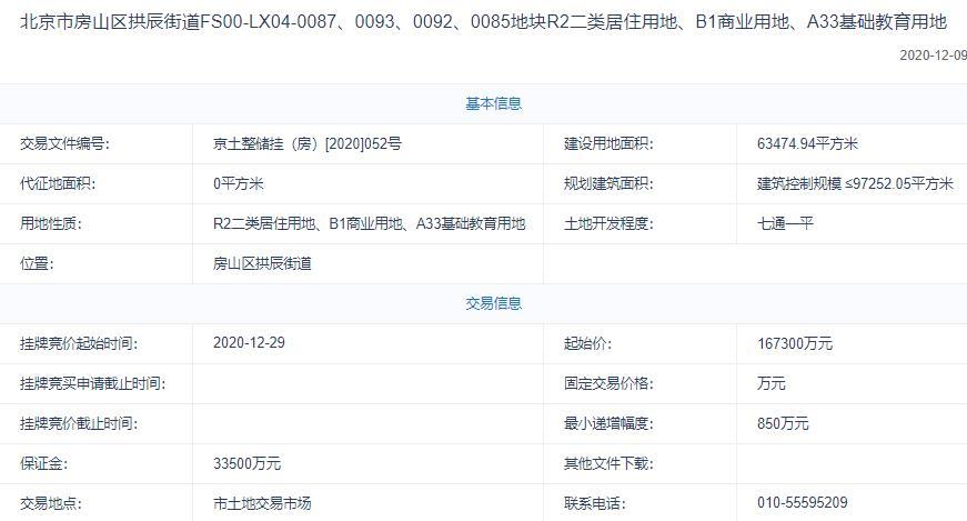 金地商置18.28亿元+11%自持摘北京房山1宗不限价地块 溢价率9.26%-中国网地产