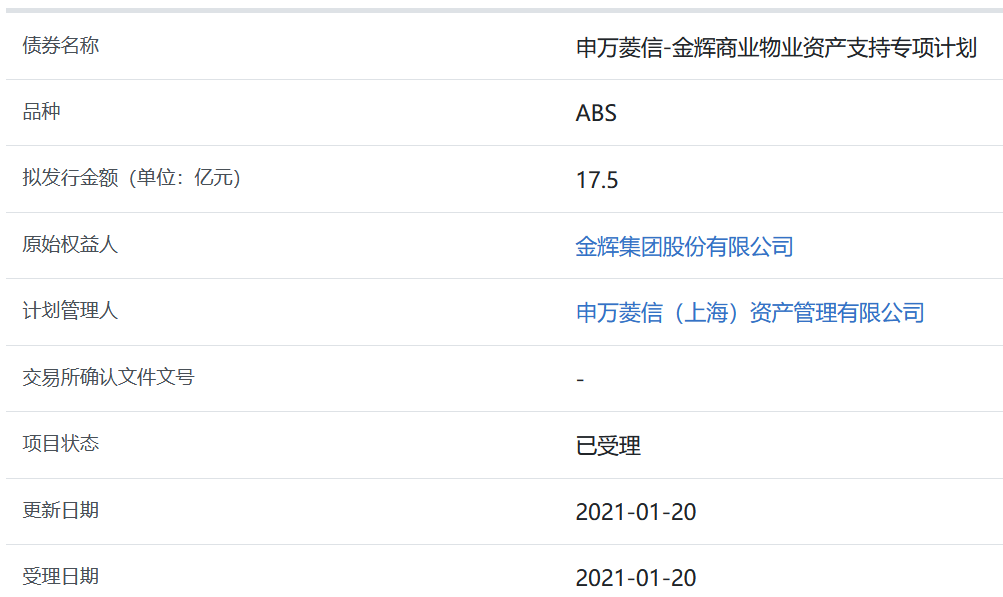 金辉集团17.5亿元ABS获上交所受理-中国网地产