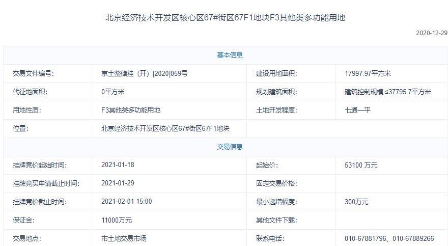 亦莊控股5.76億元競得北京經開區1宗多功能地塊 溢價率8.47%-中國網地産