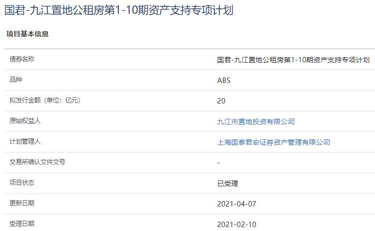 九江置地20亿元公租房资产支持ABS已获上交所受理-中国网地产