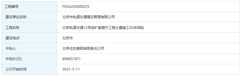 住总集团8.99亿中标北京地铁13号线扩能提升工程土建施工02合同段-中国网地产