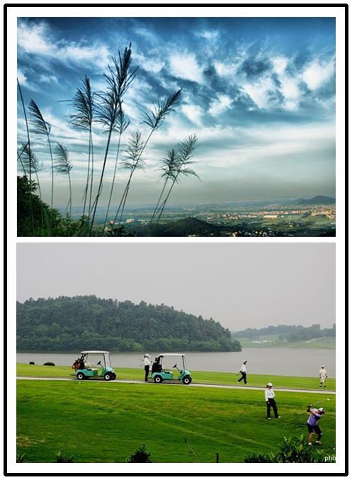 天生桥风景区,太阳岛高尔夫,上方千年古银杏等环列四周,青山绿水,风景