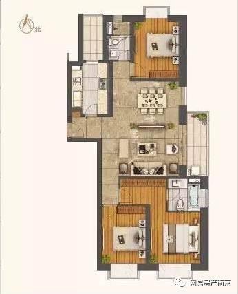(世茂外滩新城建筑面积约148平米户型图)