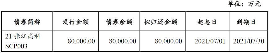 张江高科拟发行两个品种共10亿元中期票据