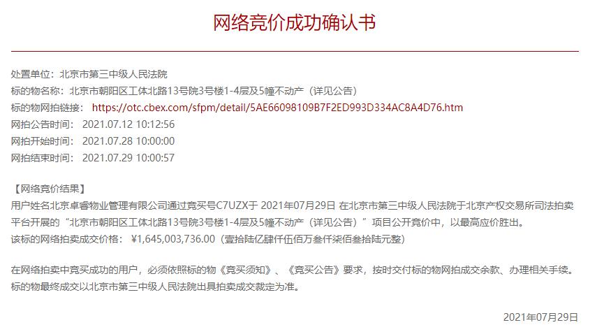 世贸工三历经四次流拍终成交 北京卓睿物业管理16.45亿竞得_中国网地产