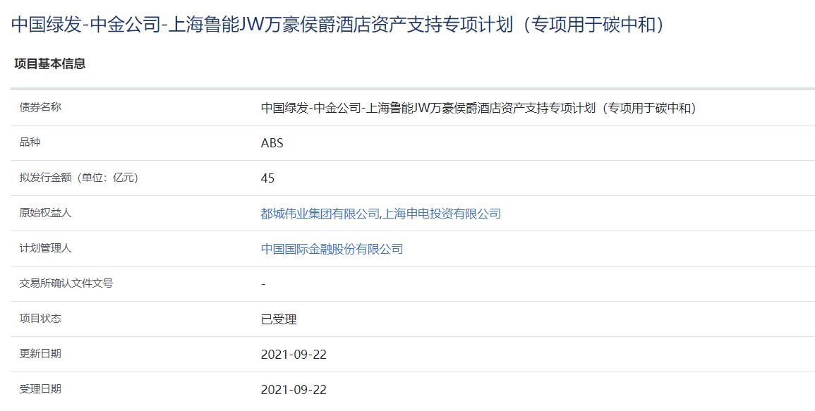 上海鲁能JW万豪侯爵酒店45亿元资产支持ABS获上交所受理_中国网地产