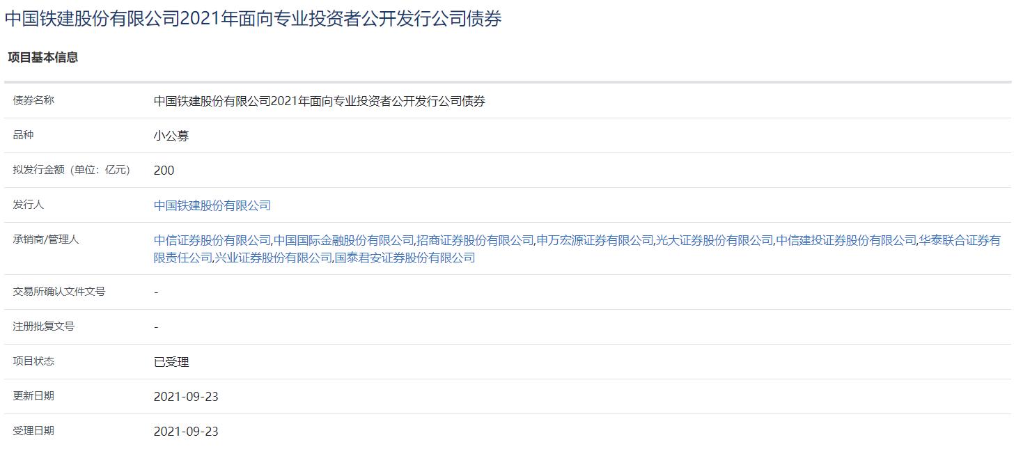 中国铁建:200亿元小公募公司债券获上交所受理_中国网地产